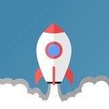 Take off racket - flat design / illustration. Blue sky, White rocket with red elements vector illustration