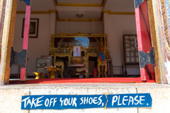Take Off Shoes Sign Before Entering In Thai Temple In Bangkok, T Stock Images
