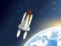 Take-off space shuttle. A spaceship. Flying near the earth`s orbit. Vector illustration vector illustration