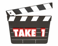 Take 1 One First Attempt Try Scene Movie Clapper Board Stock Photos