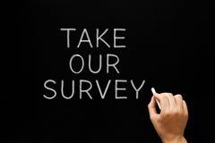 Take Our Survey Handwritten On Chalkboard. Hand writing Take Our Survey with white chalk on blackboard Stock Image