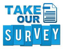 Take Our Survey Professional Blue With Symbol Stock Photography