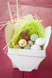 Take out Box with easter candy. Take out box with easter eggs and chocolates Stock Image