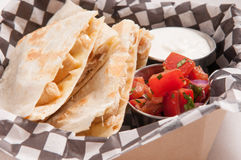 take out chicken quesadilla Royalty Free Stock Photo