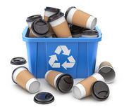 Take-out coffee cup in blue recycle crate vector illustration