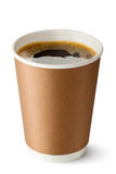 Take-out coffee in opened thermo cup. Standing on a white Stock Photos