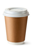 Take-out coffee in thermo cup. Standing on a white royalty free stock images