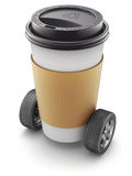 Take-out coffee in thermo cup on car wheels Stock Photo