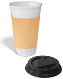 Take-out coffee in thermo cup with the lid Royalty Free Stock Photo