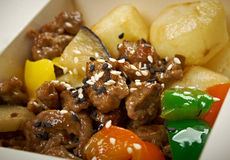 Take-out food - Beef slice  and potato. Royalty Free Stock Photography