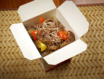 Take-out food - Noodles with pork Stock Photo