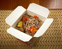 Take-out food - Noodles with pork Royalty Free Stock Photos