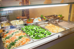 Take-out food in showcase window royalty free stock photos