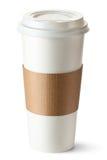 Take-out kaffe med kopphållaren Arkivbild
