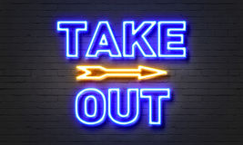 Take out neon sign Stock Photography