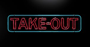 Take-out neon sign flickering. Support small business take out service delivery, service pickup and order online, 4K.