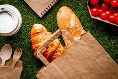 Take out in paper bag on green background top view royalty free stock photo