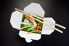 Take out salad. Vegetable salad in take out box Royalty Free Stock Image