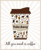 Take-out or takeaway coffee poster Stock Image