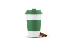Take out thermo cup with green silicone lid isolated Stock Images