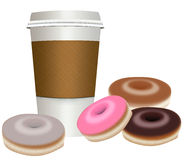 Take-out, To go coffee cup with donuts Stock Images