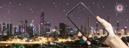 Take photo at Bangkok building at night time. Concept about technology with night life Stock Image