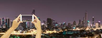 Take photo at Bangkok building at night time. Concept travel in night life Royalty Free Stock Photos