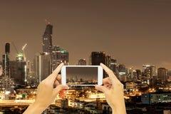 Take photo at Bangkok building at night time. Concept travel at night life in Thailand Stock Images
