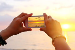 Take a photo on the beach Stock Photography