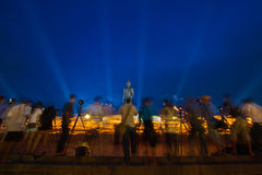 Take photo,Makha Bucha Day. Candle lit from buddhists are moving Stock Photo