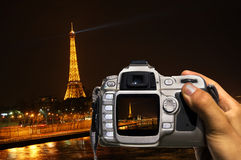 Take photo of night Paris Royalty Free Stock Photography