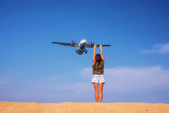 Take photo with the plane. Stock Photography