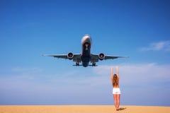 Take photo with the plane. Stock Photo