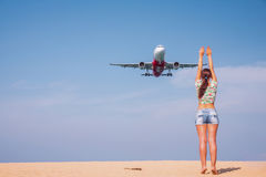 Take photo with the plane. Stock Images