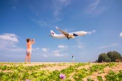 Take photo the plane. Stock Image