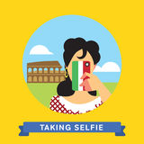 Take a photo selfie in Rome, Italy. Girl doing selfie on smartphone in Rome, Italy. Take a photo selfie. Vector illustration Stock Photo