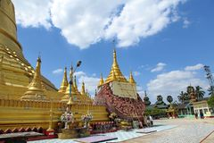 Take photo the Shwemawdaw Pagoda ,the tallest pagoda in Myanmar, referred to as the Golden God Temple stock photo