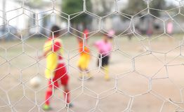 Net give net clear person play football not cle Royalty Free Stock Photography