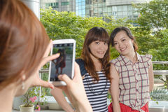 Take photos by smartphone Stock Photography
