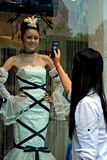 Take picture of a bridal shop model Royalty Free Stock Photo