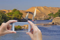 Take a picture of Nile near Aswan Royalty Free Stock Images
