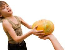 Take a pumpkin boy! Royalty Free Stock Images