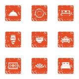 Take refuge icons set, grunge style. Take refuge icons set. Grunge set of 9 take refuge vector icons for web isolated on white background Royalty Free Stock Photography