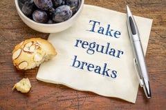 Take regular breaks advice on napkin Stock Photo