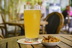 Take a rest with beer and snack Royalty Free Stock Photography