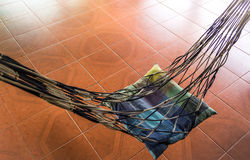 Take a rest on cradle, rope hammock Royalty Free Stock Images