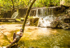 Take a rest at waterfall Stock Photos