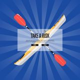 Take a risk sport banner with kayak and paddle Stock Photo