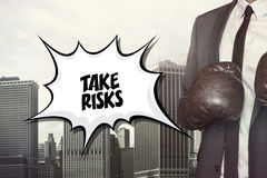 Take risks text on speech bubble Royalty Free Stock Photo