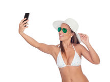 Take a self portrait with her smart phone Stock Photo